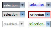 select controls with various CSS rules applied